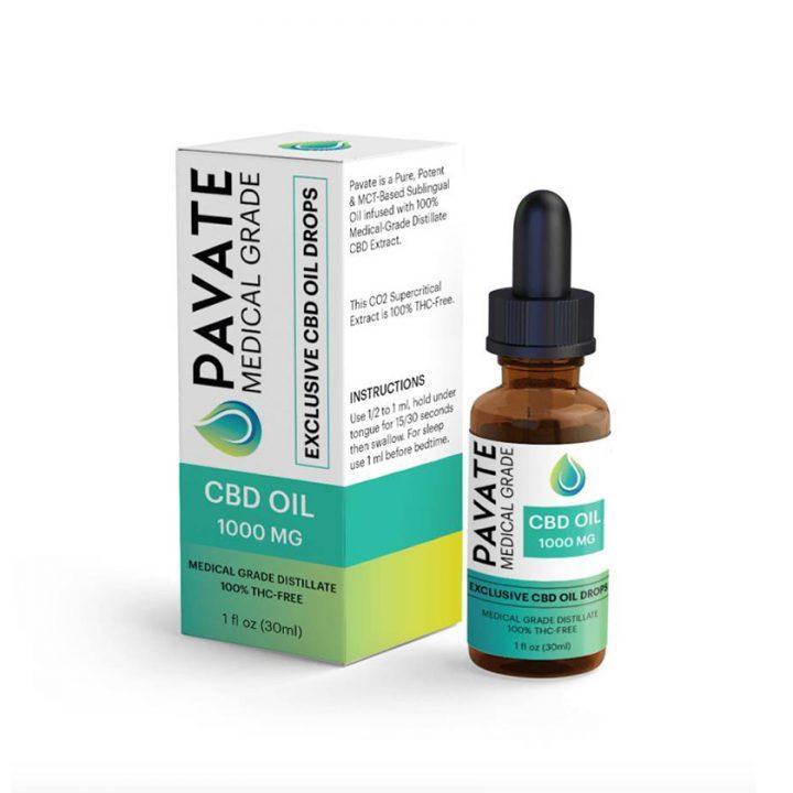 Pavate Medical Grade CBD Oil - 1000mg bottle & box